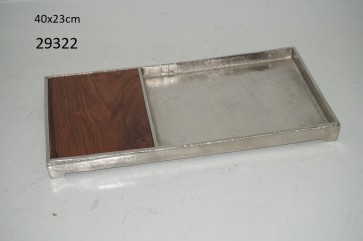 Wood/Alum. Cutting Board Tray - Rect